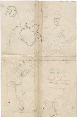 Various sketches of human figures and dogs