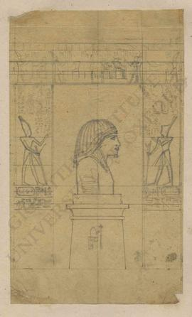 Composition with ancient Egyptian statue bust on pedestal and temple entrance with reliefs depict...
