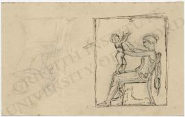 Two designs of seated female figure with nude child on her lap, chasing a bee