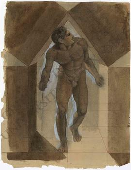 Design for a ceiling fresco, with nude man emerging from between four cubic stone blocks (detail ...