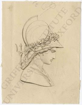 Profile view of woman with wreathed helmet and trident