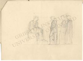 Three standing figures (probably women) appearing in audience before seated figure (probably man)