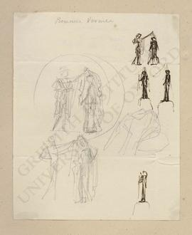 Sketches of Hermes unveiling a woman in classical dress