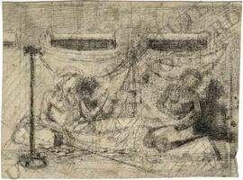 Reclining man and kneeling man in tent