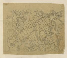 Relief depicting two men leading a spotted horse ridden by a child, Neo-Assyrian; sketch/tracing ...