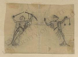 Two female figures, one on right with a set of scales and one on left with a sword (allegories of...