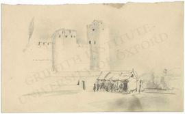 View of fortifications and dwelling or tent in foreground (not identified)