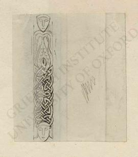 Knotted or braided design with two faces, probably of stone column or pillar