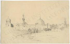 Possibly Syria. Mosque or cityscape with mosques (not identified)