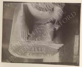 Lower part of a scribe-statue of Minnakht, diorite, temp. Tuthmosis III, probably from Qift, now ...