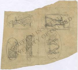 Four designs of Britannia, including breaking her bonds and fastening dress at shoulder with shie...