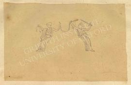 Two female figures, one on left with a set of scales and one on right with a sword (allegory for ...