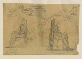 Sketches of woman with book seated on chair with anchor motif (mirror views), standing woman and ...