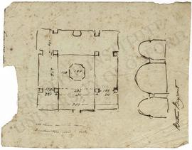 Lebanon. Baalbek. Bustan el-Khan. Medieval baths. Plan with measurements and section