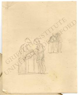 Two sketches of women discussing an object
