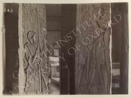 Pillar showing the deceased on (b) and (d) holding a standard of Sekhmet, late Dyn. XIX or early ...