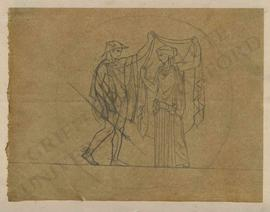 Hermes in winged hat (petasos) and winged sandals with caduceus unveiling a woman in classical dress