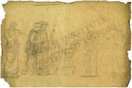 Seated woman attended by three standing women and man using compasses (probably Eratosthenes esti...