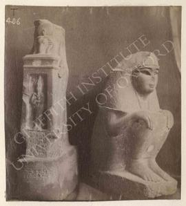 [Left] Standing statue (headless), holding naos with figure of Osiris, diorite, temp. Psammetikho...