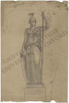 Standing statue of Britannia with shield and staff (probably design for lighthouse)