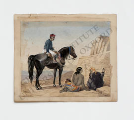 Thebes, man on horseback in conversation with another man and woman
