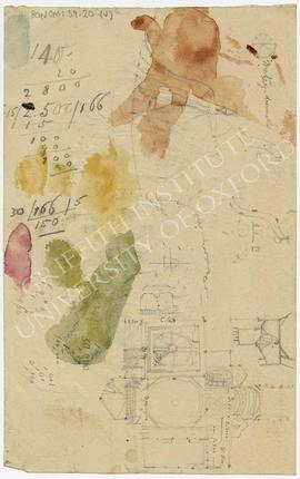 Sketched plan and calculations, with watercolour stains