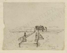 Idealised view of the approach to an Egyptian temple, with the avenue of sphinxes connecting quay...