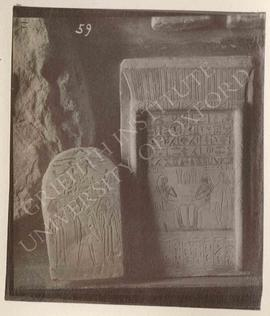 [Left] Stela of Rensoneb and his wife Ikeshi, Dyn. XIII or 2nd Int. Period, provenance not known,...