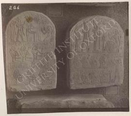 [Left] Stela of Mesu kneeling before divinities, Dyn. XX, provenance not known, now in Florence, ...