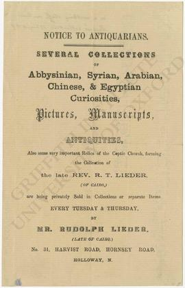 Auction notice regarding the sale of the collection of Rev. R.T. Lieder
