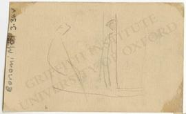 Unfinished sketch with two human figures, probably not Egyptological, not identified