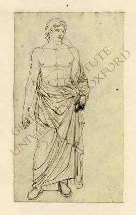 Free-standing sculpture of draped standing male youth