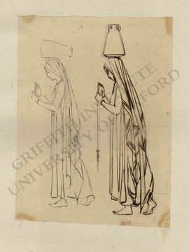 Sketches of walking woman with amphora on head and holding drop spindle