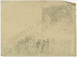 [Upper] Iraq. Kouyunjik (Nineveh). South-West Palace. Room V. Slab 43. Relief depicting an Assyrian fortified camp, temp. Sennacherib, c. 700 BC; sketch from gypsum slab in situ but reported stolen in 1995 (reversed). [Lower] Frieze design with women holding amphorae and warriors.