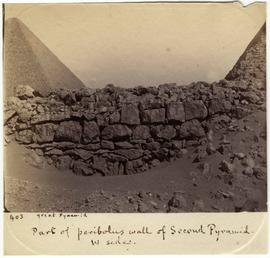 [403] Part of peribolus wall of Second Pyramid. W side.