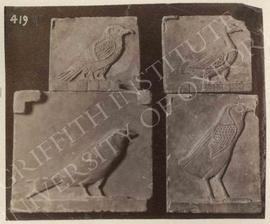 Trial-pieces showing birds, hieroglyphs, etc., provenance not known, now in Turin, Museo Egizio, ...