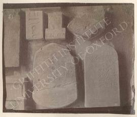 [Upper second from left] Relief fragment, remains of offering-text (from wall of tomb), Old Kingd...