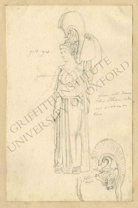 Three-quarter view of free-standing bronze statuette of Athena with helmet and silver inlays (Nap...