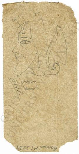 Relief depicting man's head profile, Neo-Assyrian; sketch/tracing from gypsum slab (not identified)