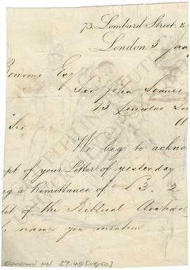 Letter to Bonomi from 73, Lombard Street
