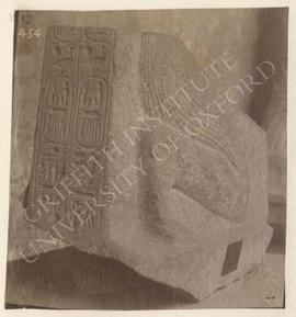 Lower part of the kneeling statue of Ramesses II with a shrine, granite, found in Rome, Iseum, no...