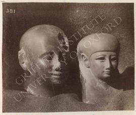 [Left] Shaven head, grey granite, Dyn. XXX, provenance not known, now in Bologna, Museo Civico Ar...