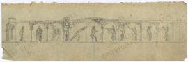 Portico design with Egyptianizing floral columns, telamones (male caryatids), and classical and E...