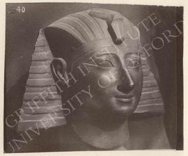 Royal head, probably Tuthmosis III, black granite, Dyn. XVIII, provenance not known, now in Bolog...