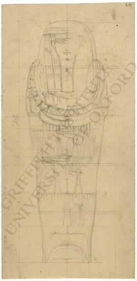 Egyptian coffin, not identified, unfinished sketch in grid, with measurements