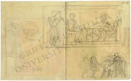 Sketches of three scenes: Diana appearing in a dream to sick Arsinoe; man and woman playing chess...