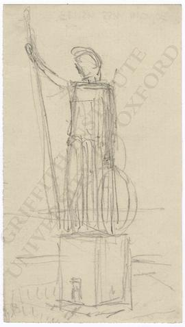 Lighthouse design with colossal statue of Britannia with trident and shield