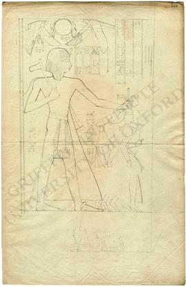 Egypt. Thebes. West Bank. Ramesseum. First Pylon. Inner face. Ramesses II holding bound captives