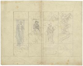 Two sketches of women by window and standing male