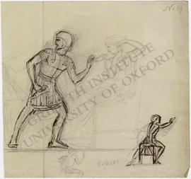Man in military outfit lunging towards seated woman fastening earring, with two details of seated...
